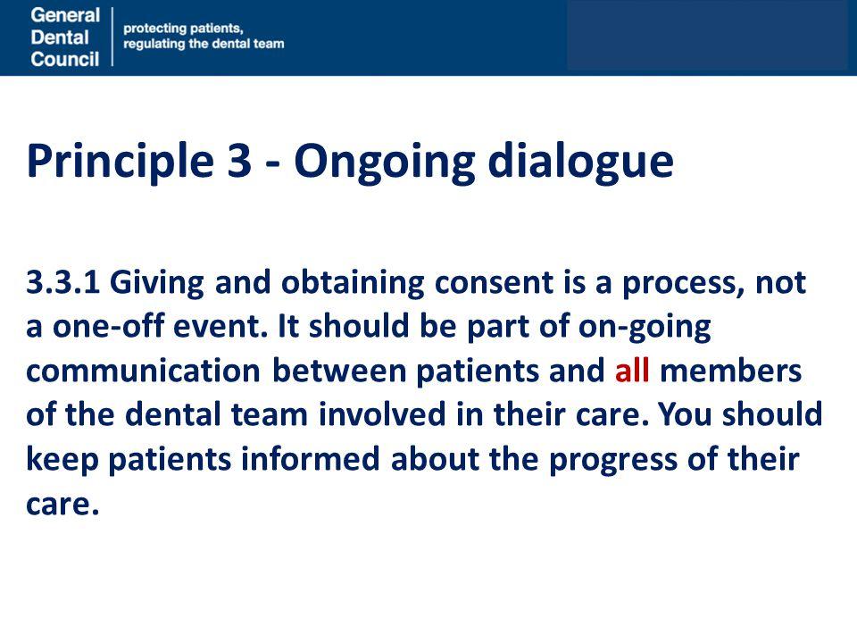 Principle 3 - Ongoing dialogue