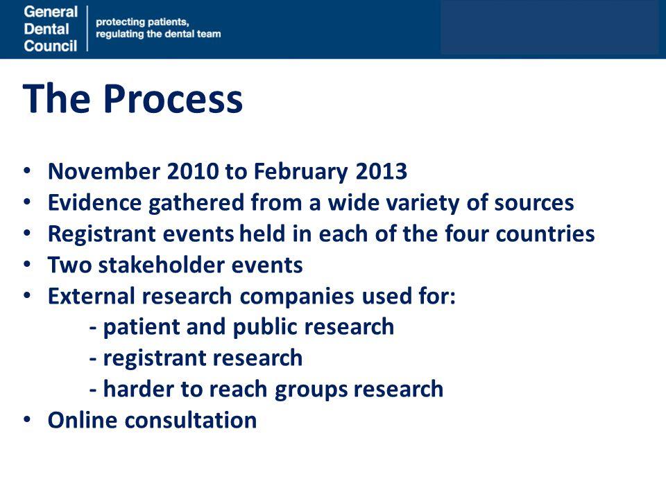 The Process November 2010 to February 2013