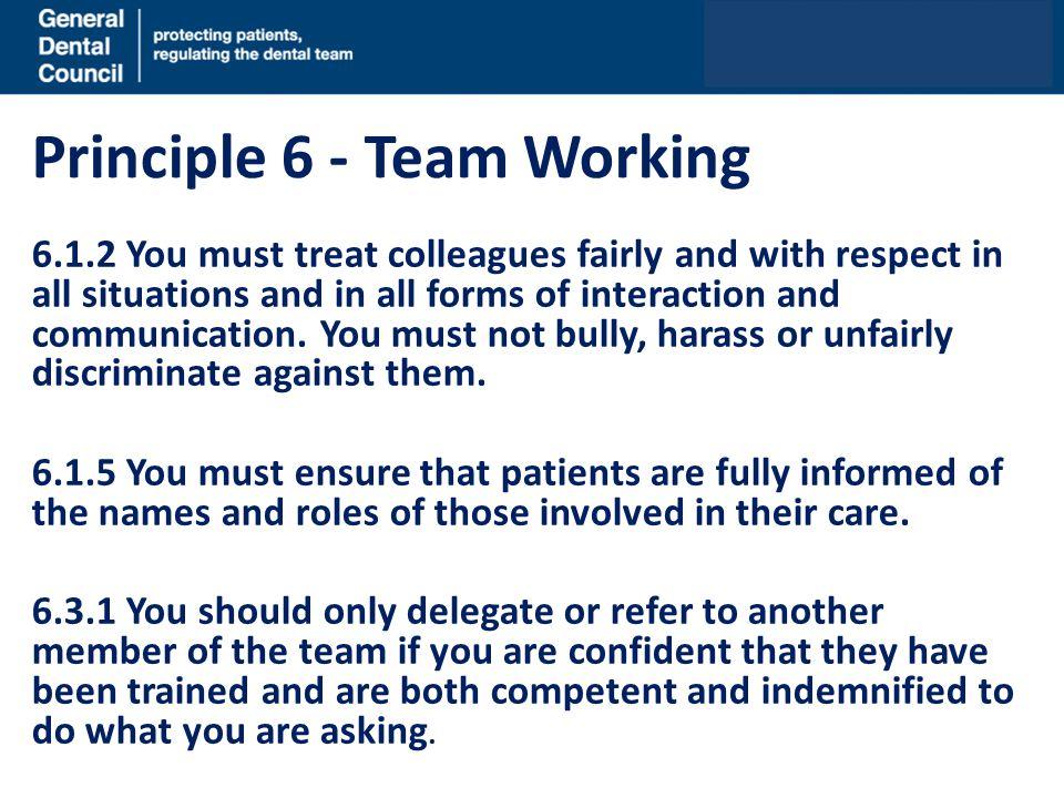 Principle 6 - Team Working