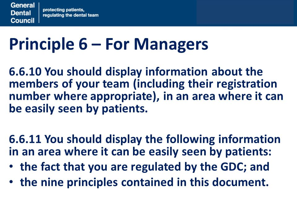 Principle 6 – For Managers