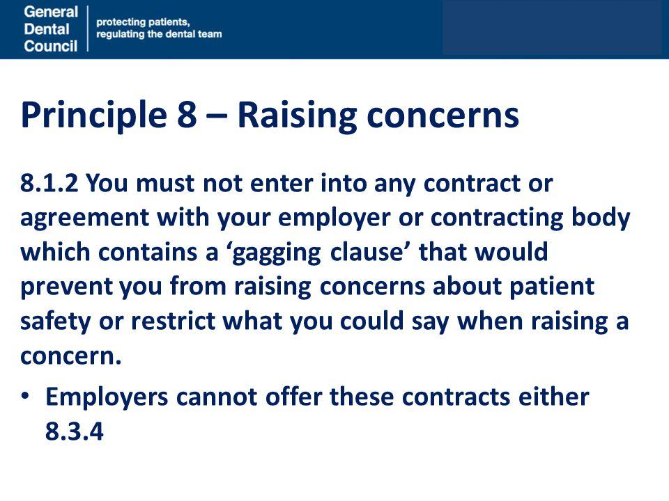 Principle 8 – Raising concerns