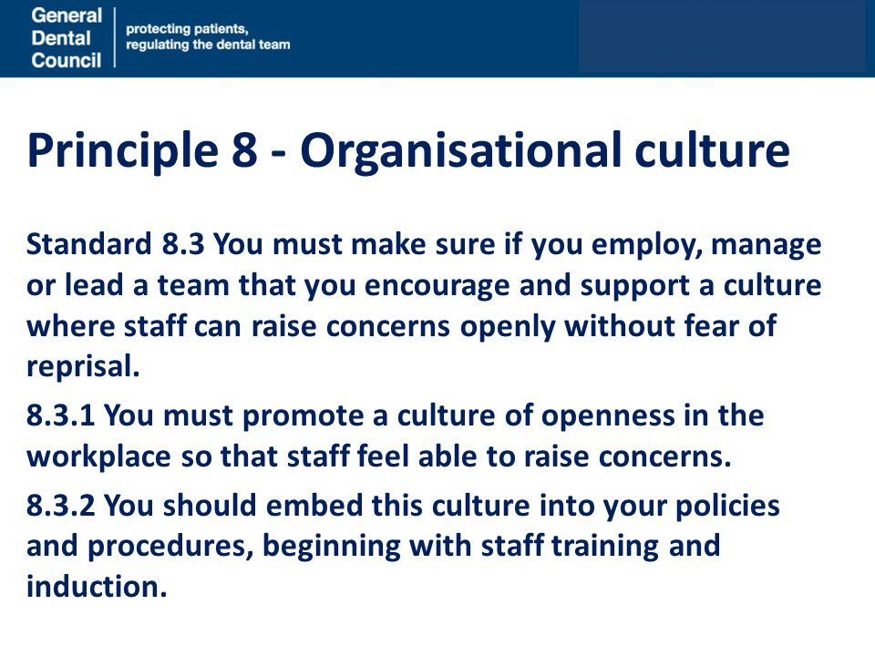 Principle 8 - Organisational culture