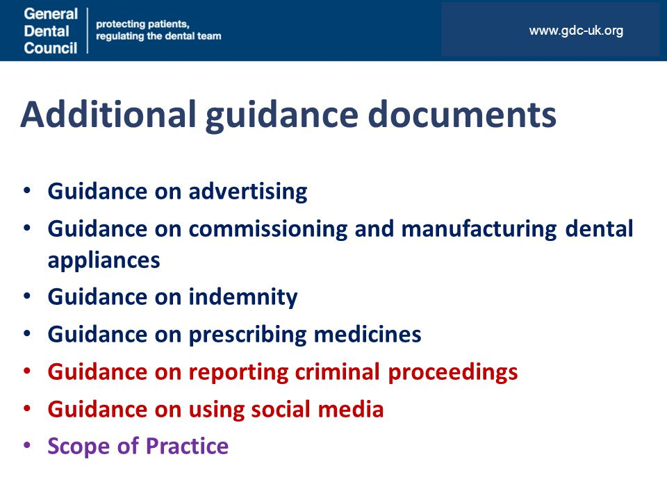 Additional guidance documents