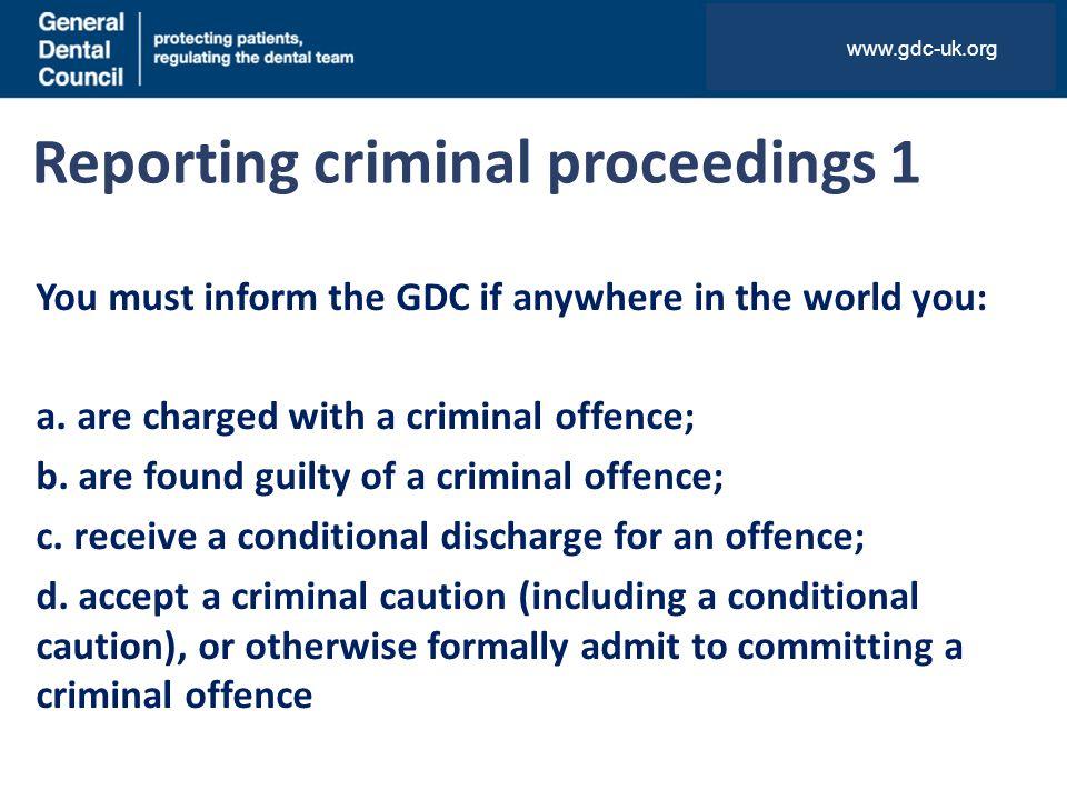 Reporting criminal proceedings 1