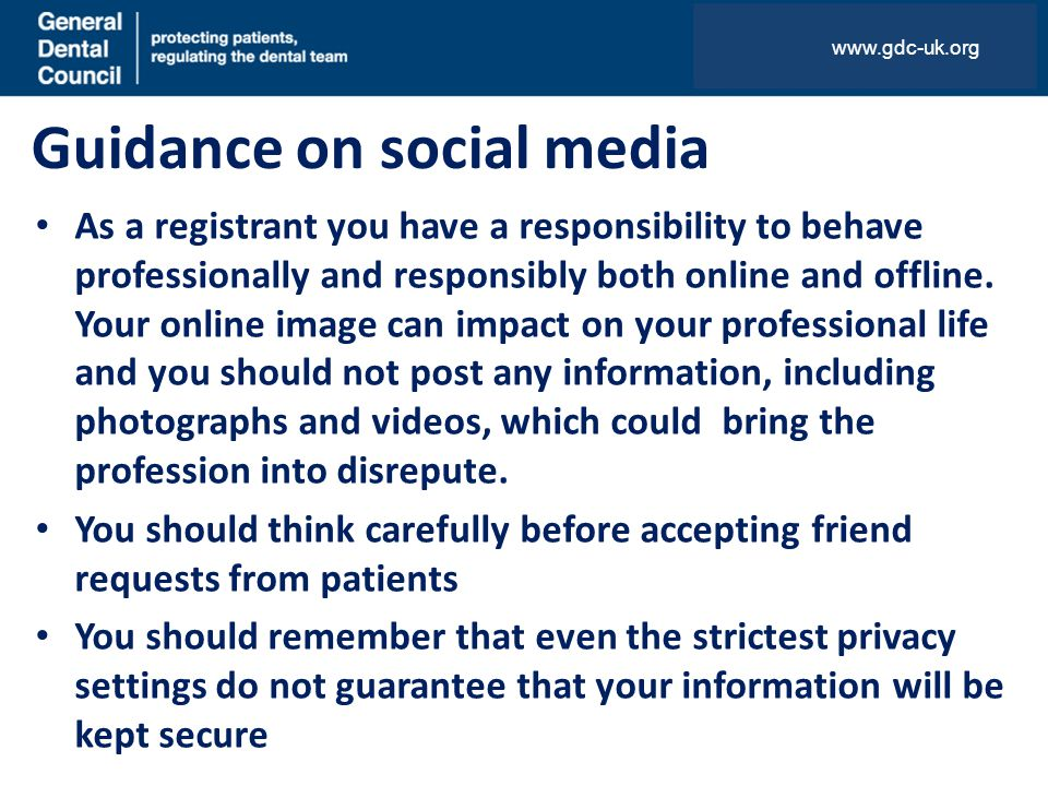 Guidance on social media