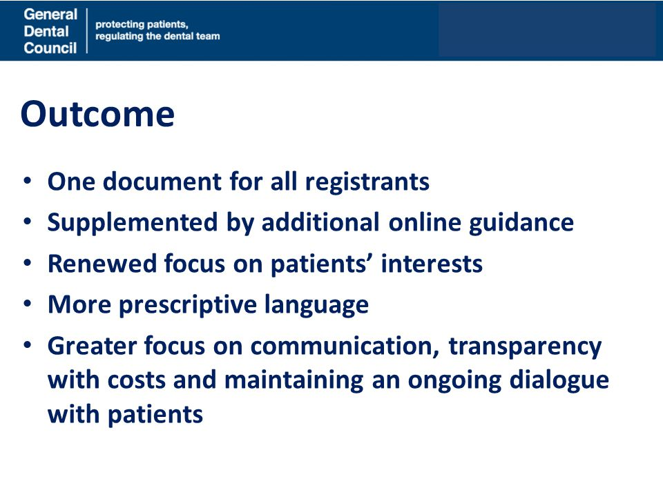 Outcome One document for all registrants