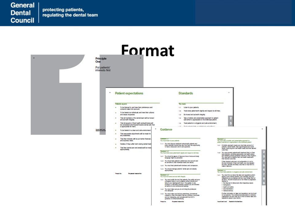 Format www.gdc-uk.org What the new guidance looks like –