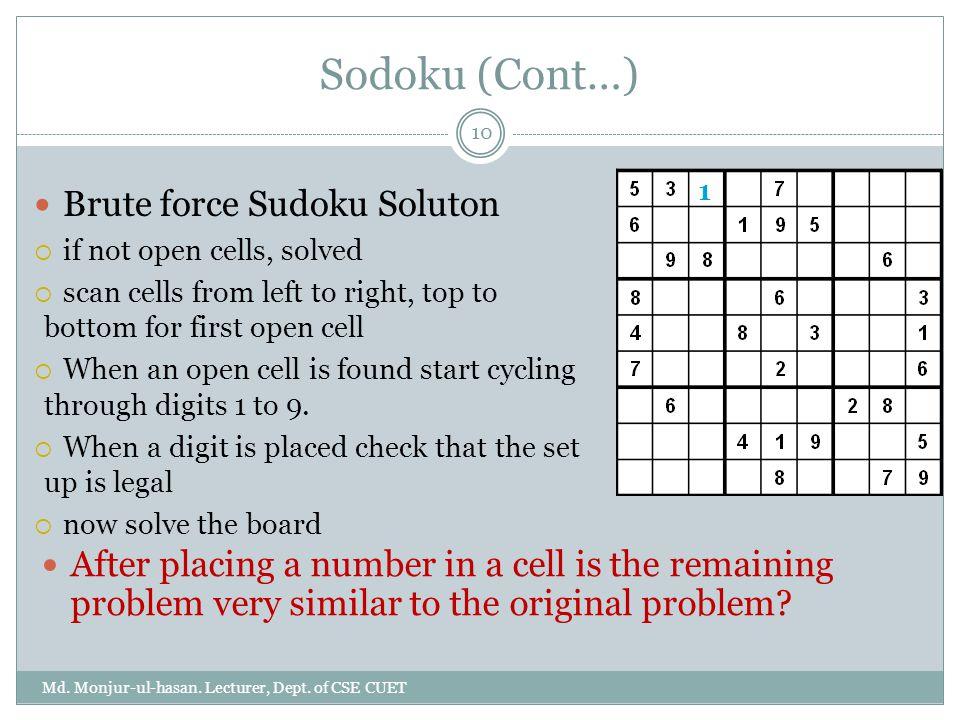 Sodoku (Cont…) Brute force Sudoku Soluton