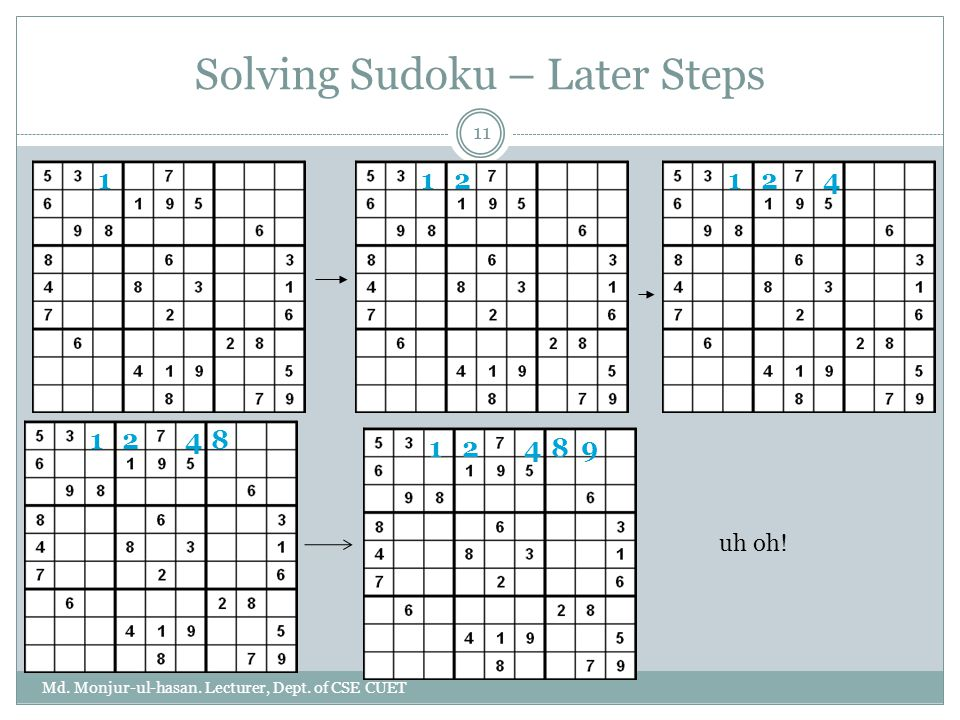 Solving Sudoku – Later Steps
