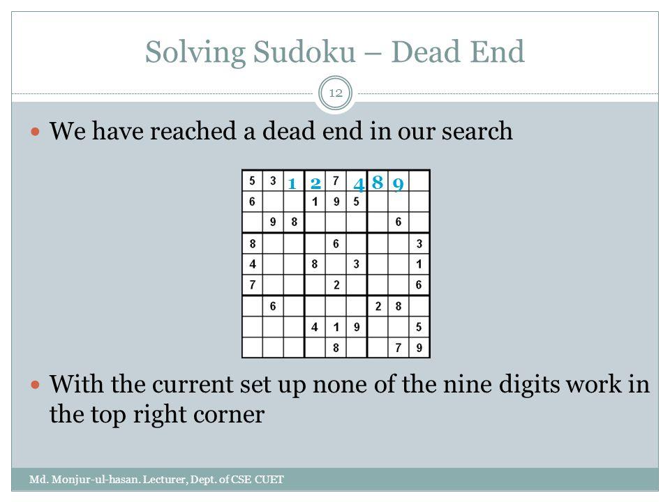 Solving Sudoku – Dead End