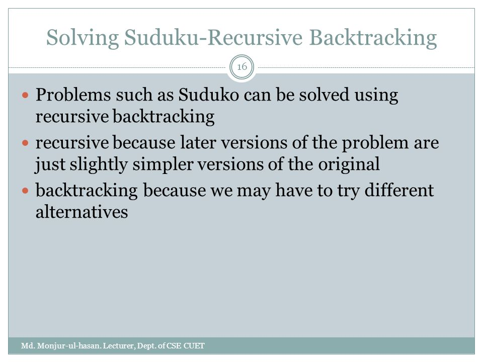 Solving Suduku-Recursive Backtracking