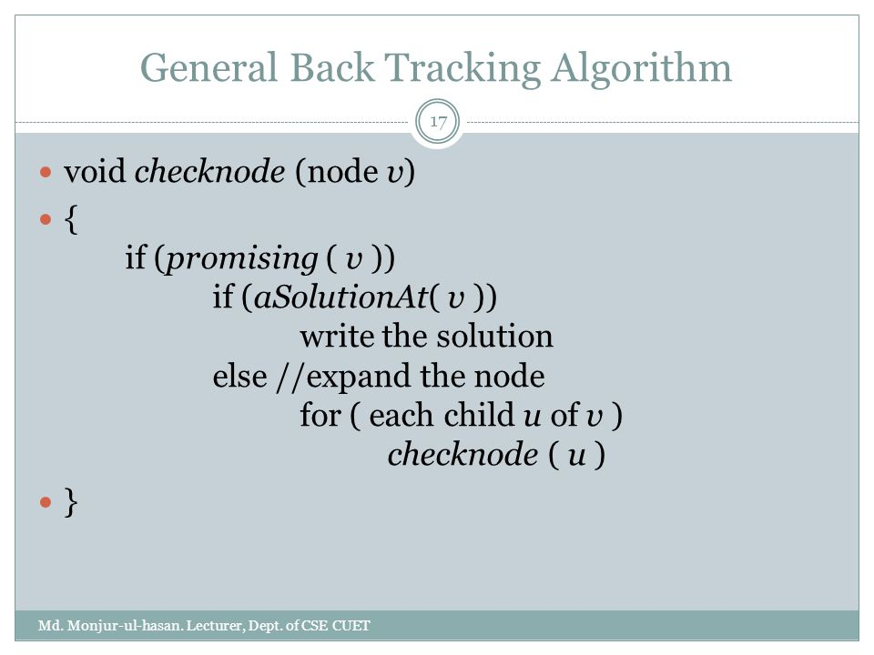 General Back Tracking Algorithm