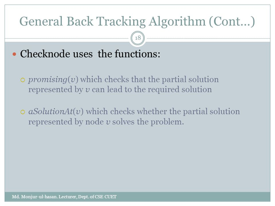 General Back Tracking Algorithm (Cont…)