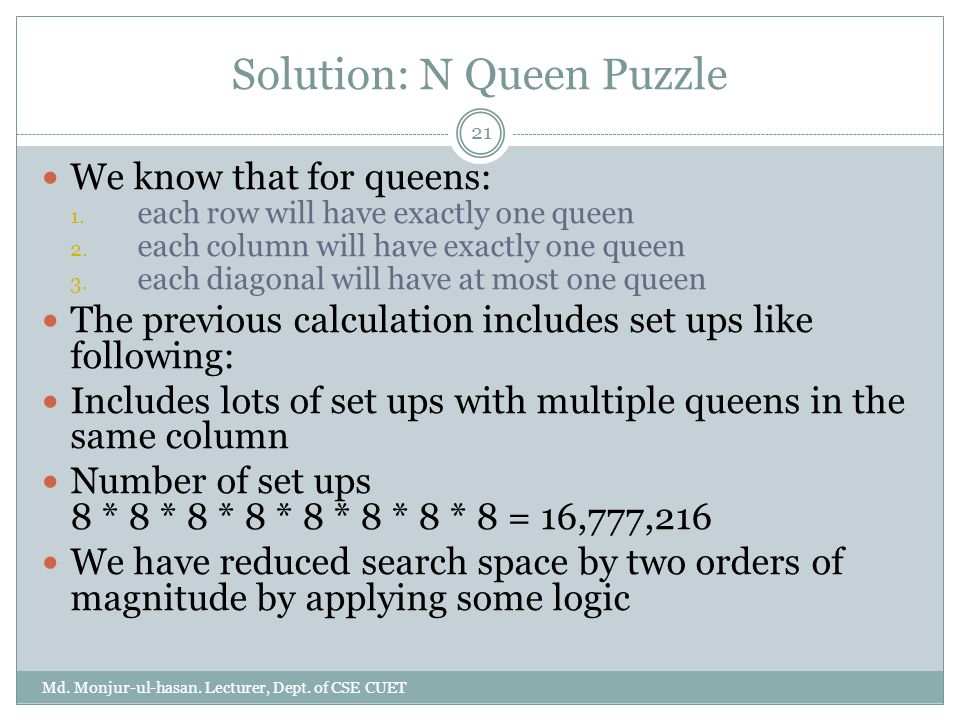 Solution: N Queen Puzzle