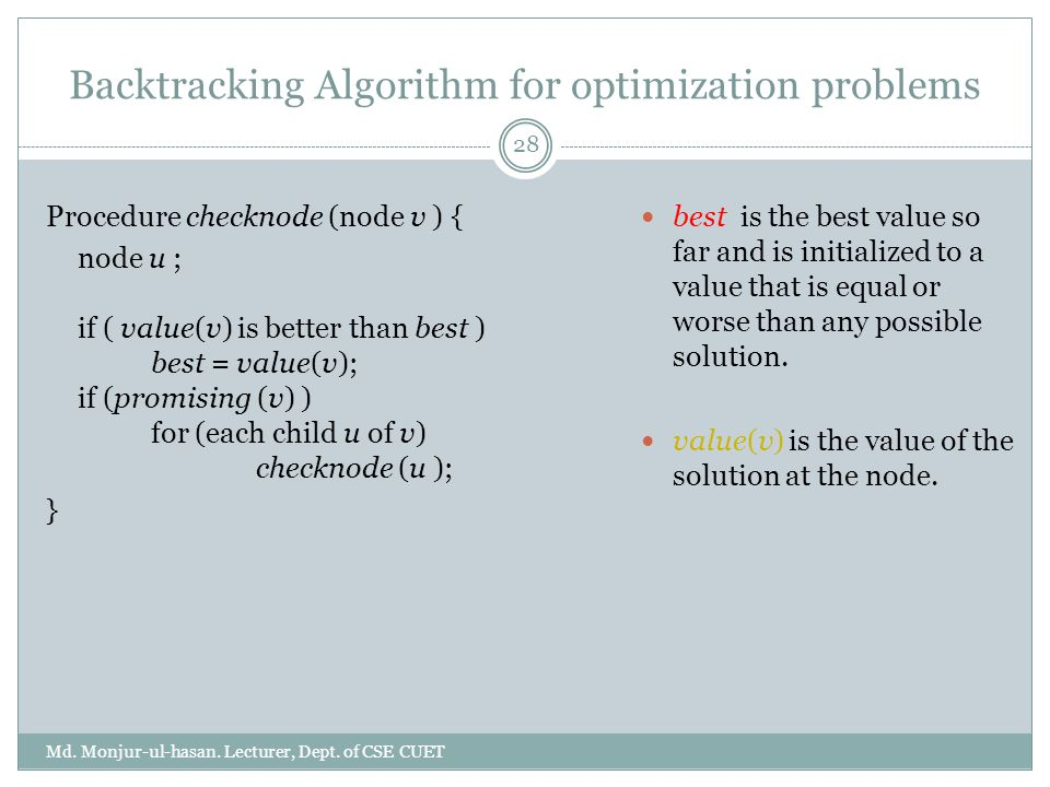 Backtracking Algorithm for optimization problems