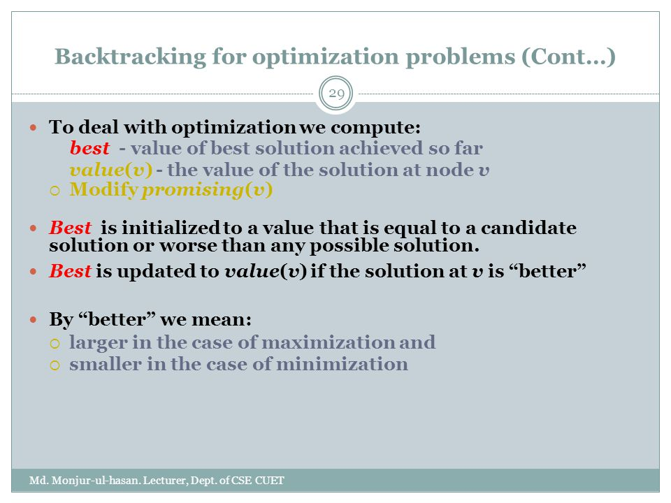 Backtracking for optimization problems (Cont…)