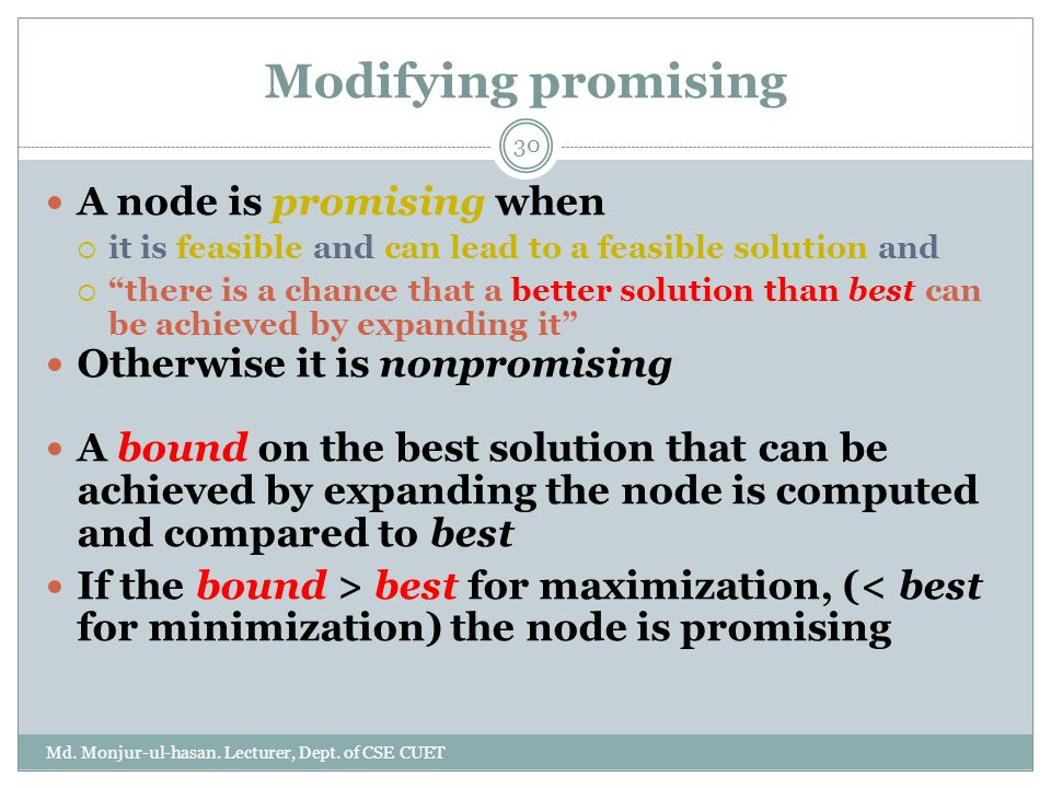 Modifying promising A node is promising when