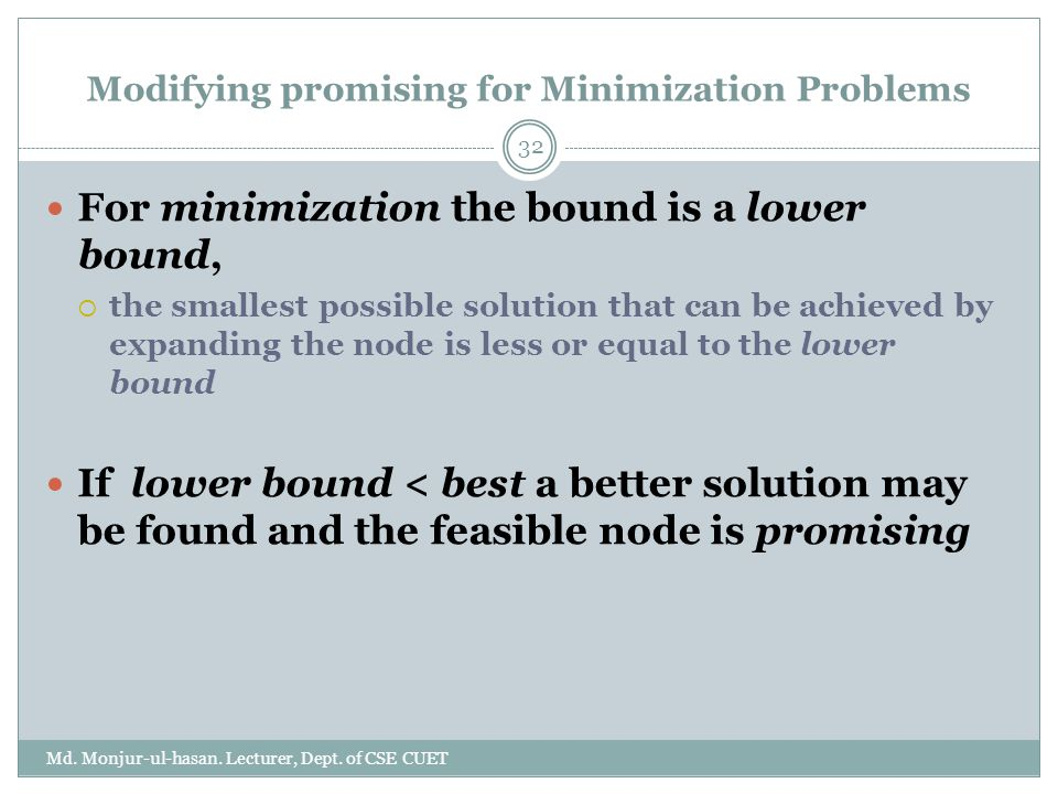 Modifying promising for Minimization Problems