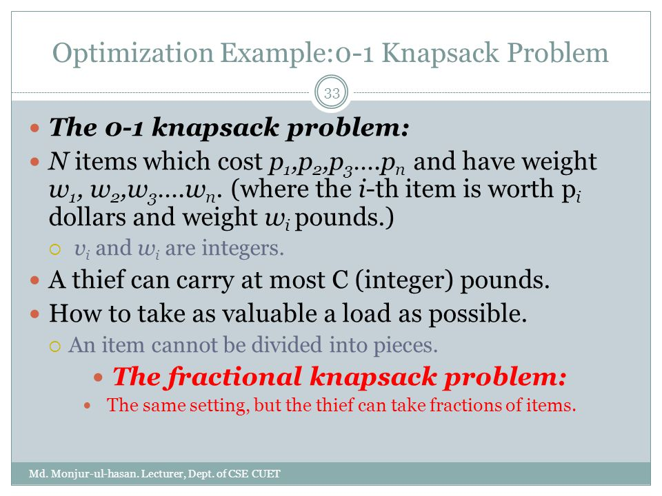 Optimization Example:0-1 Knapsack Problem