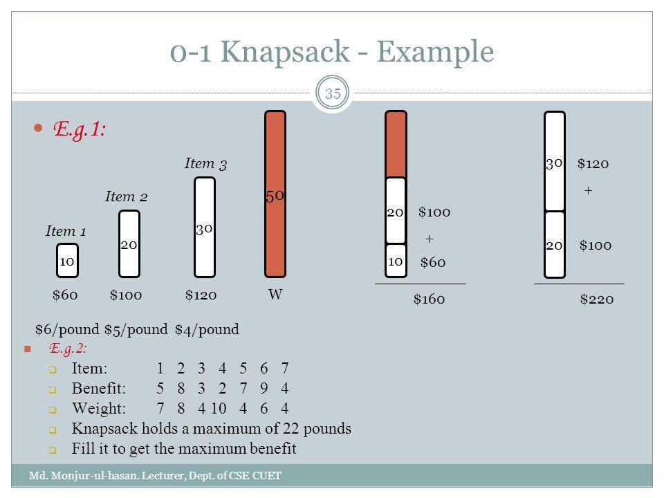 0-1 Knapsack - Example E.g.1: E.g.2: 50 50 50 Item: 1 2 3 4 5 6 7