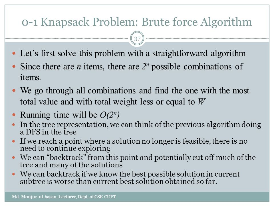 0-1 Knapsack Problem: Brute force Algorithm