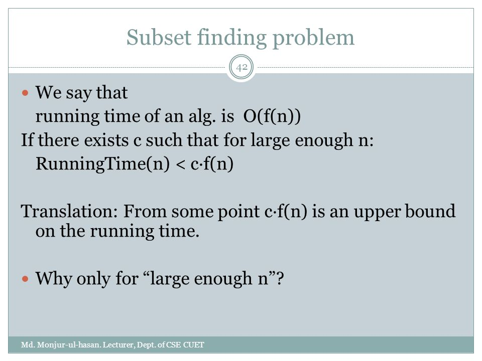 Subset finding problem