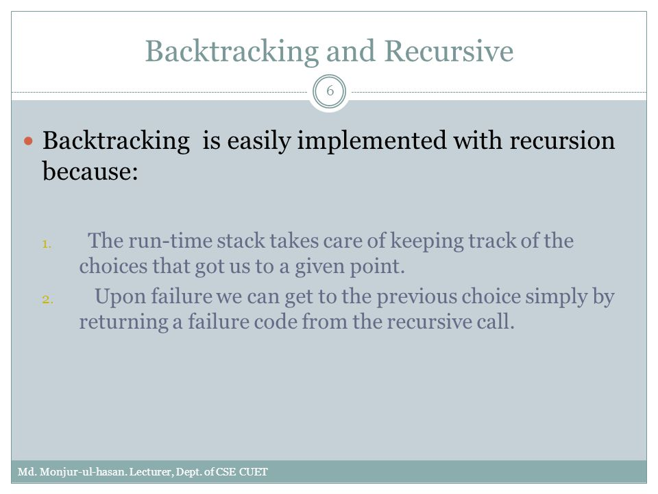 Backtracking and Recursive