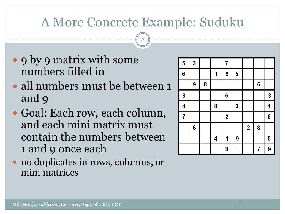 A More Concrete Example: Suduku