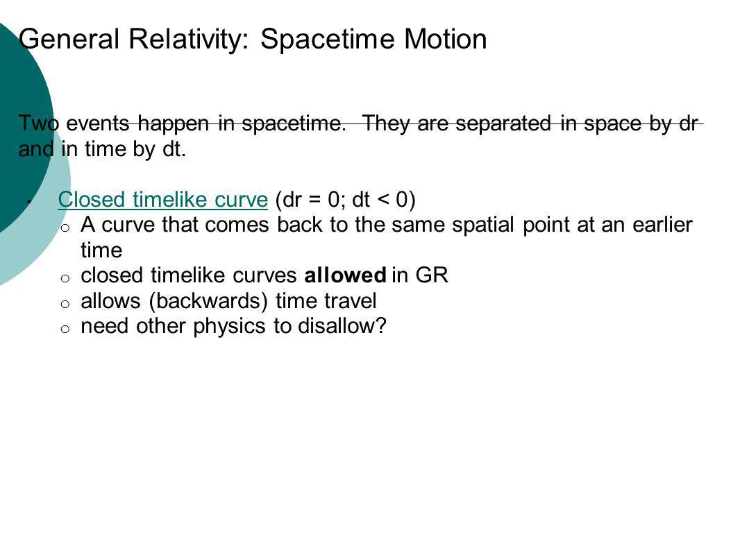 General Relativity: Spacetime Motion