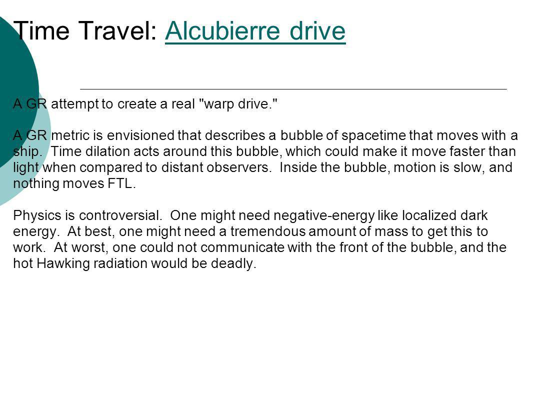 Time Travel: Alcubierre drive