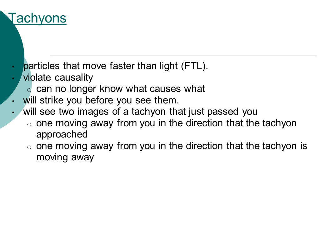 Tachyons particles that move faster than light (FTL).