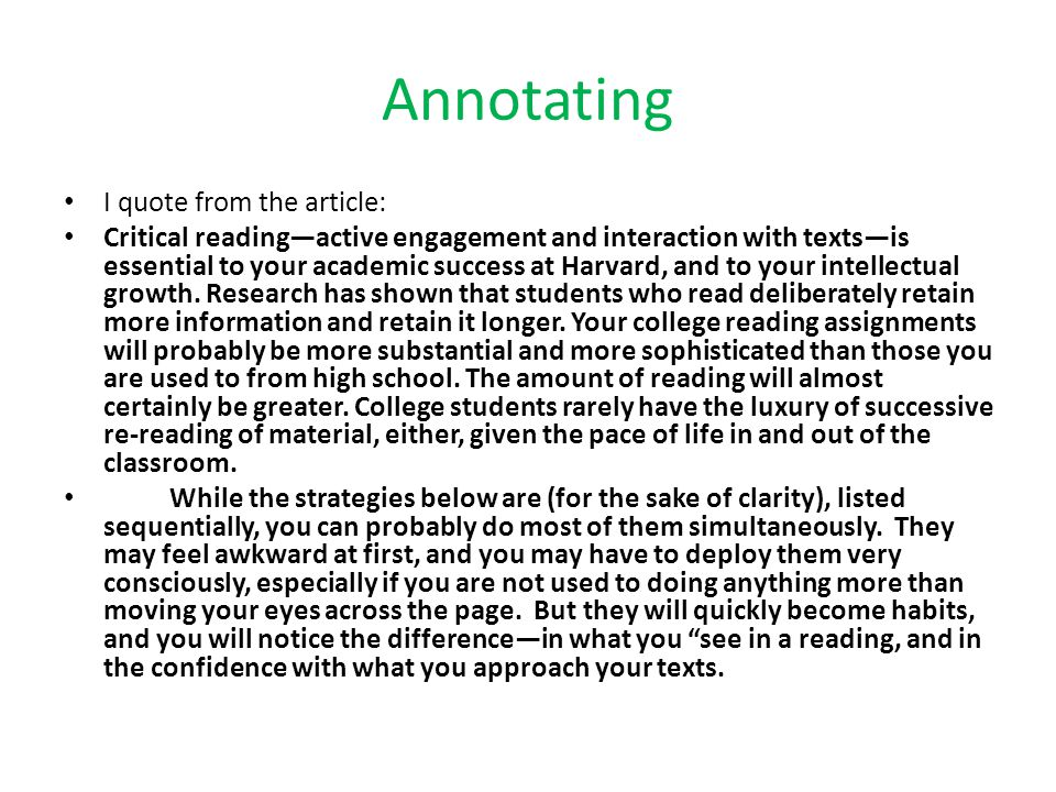 Annotating I quote from the article: