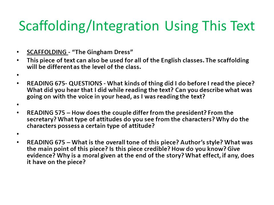 Scaffolding/Integration Using This Text