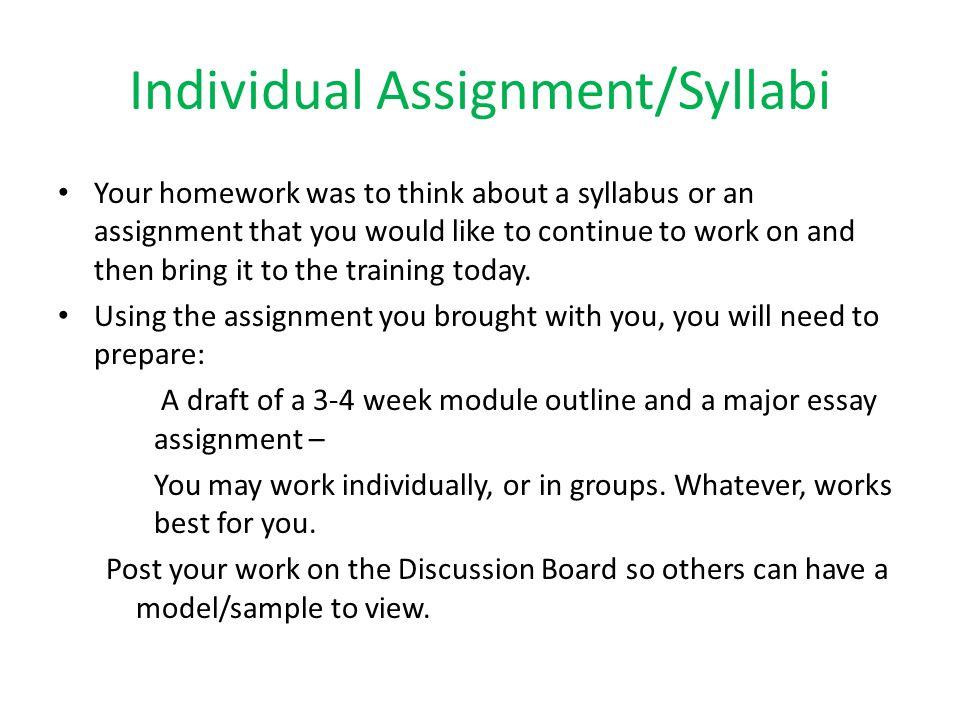 Individual Assignment/Syllabi