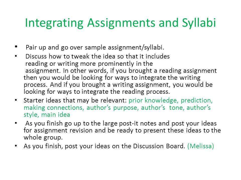 Integrating Assignments and Syllabi