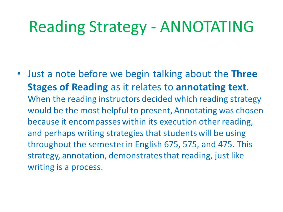 Reading Strategy - ANNOTATING