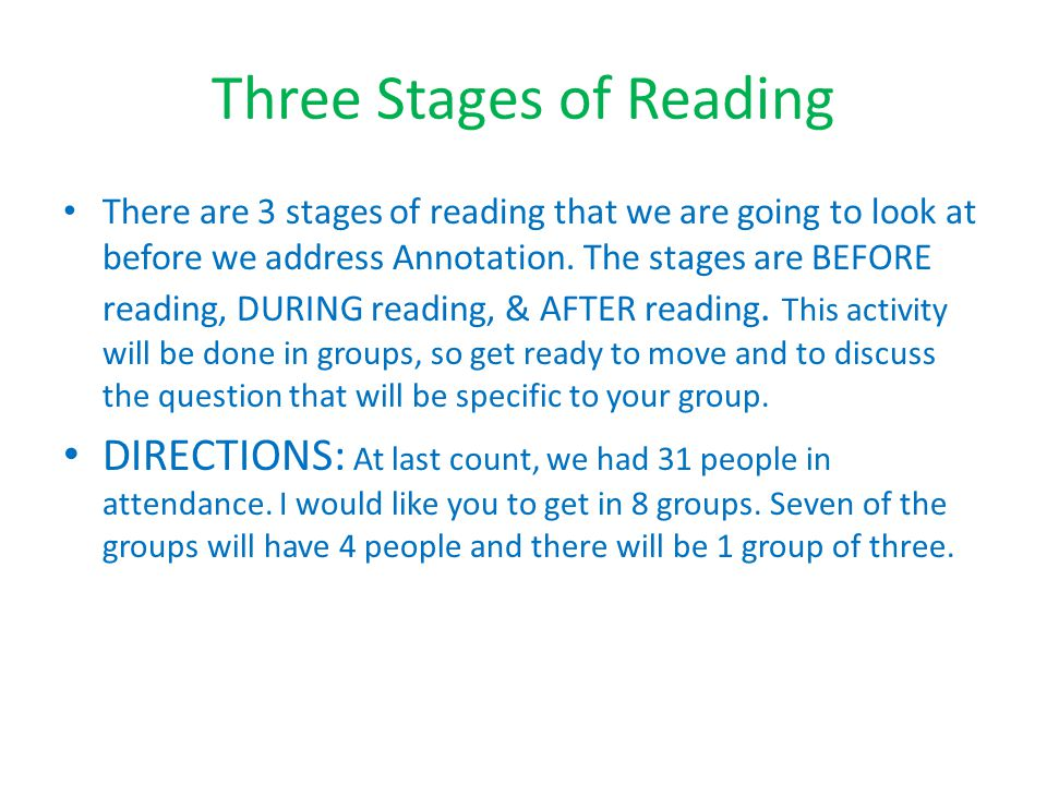 Three Stages of Reading