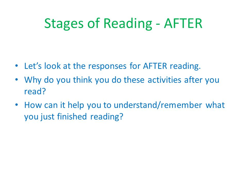 Stages of Reading - AFTER