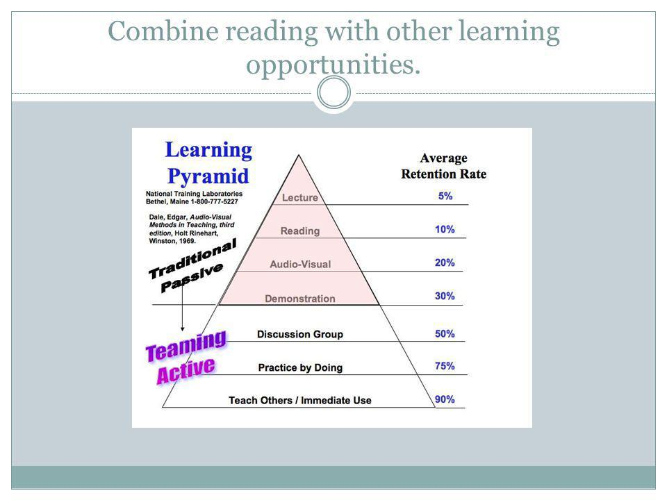 Combine reading with other learning opportunities.