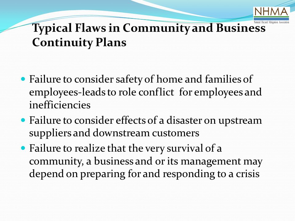 Typical Flaws in Community and Business Continuity Plans