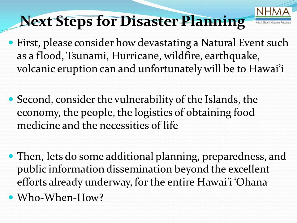 Next Steps for Disaster Planning