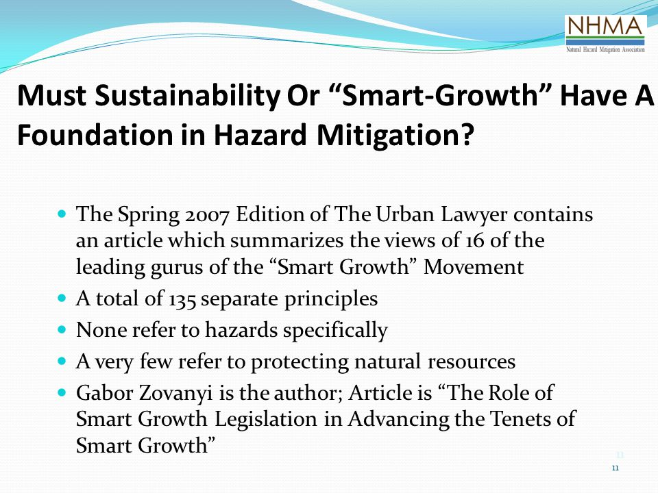 Must Sustainability Or Smart-Growth Have A Foundation in Hazard Mitigation