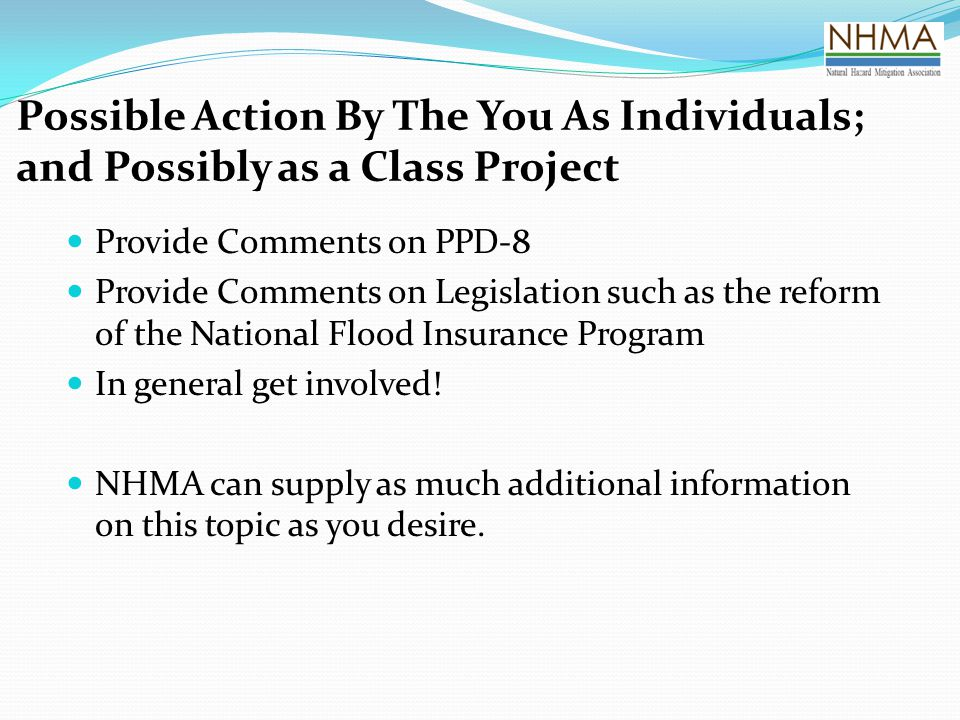Possible Action By The You As Individuals; and Possibly as a Class Project