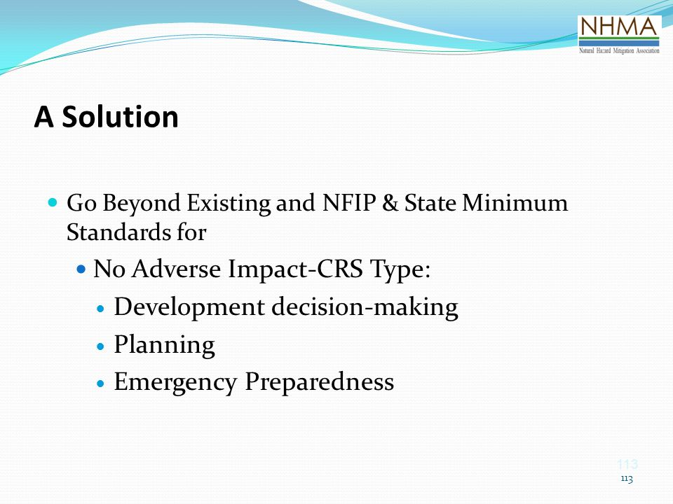 A Solution No Adverse Impact-CRS Type: Development decision-making