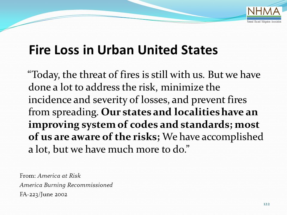 Fire Loss in Urban United States