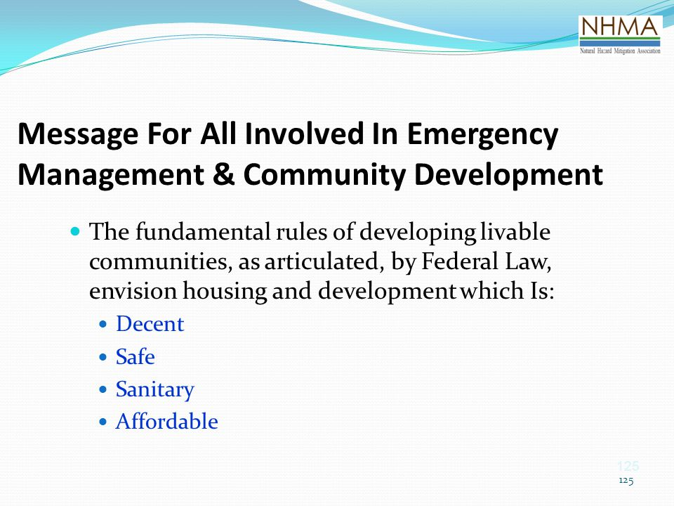 Message For All Involved In Emergency Management & Community Development