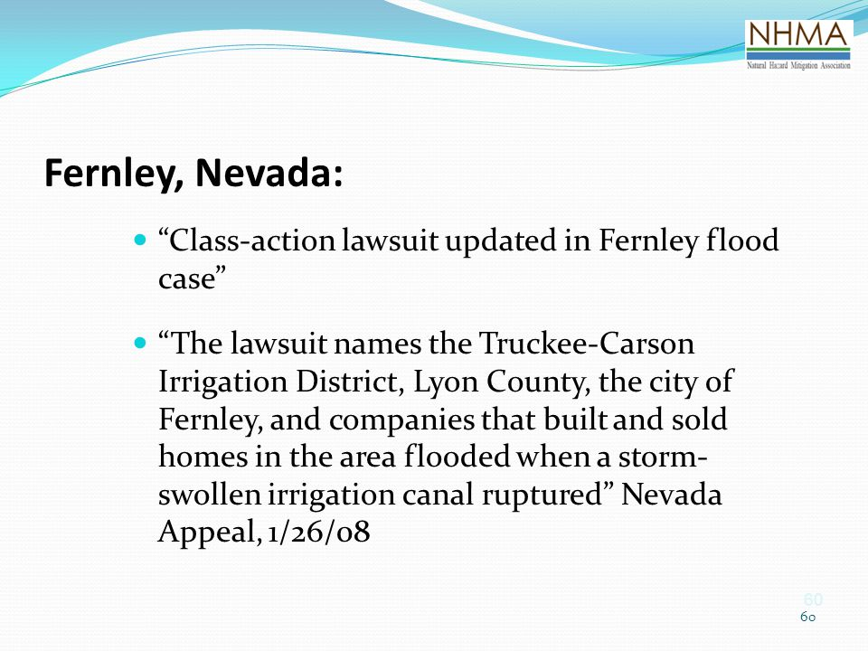 Fernley, Nevada: Class-action lawsuit updated in Fernley flood case