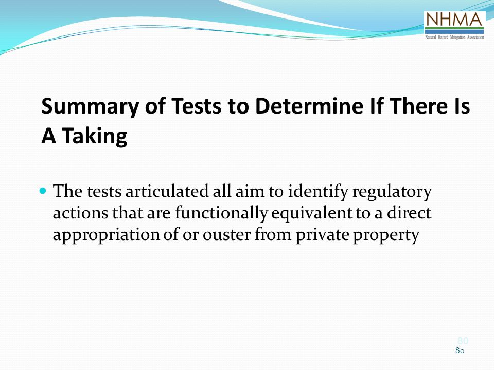 Summary of Tests to Determine If There Is A Taking