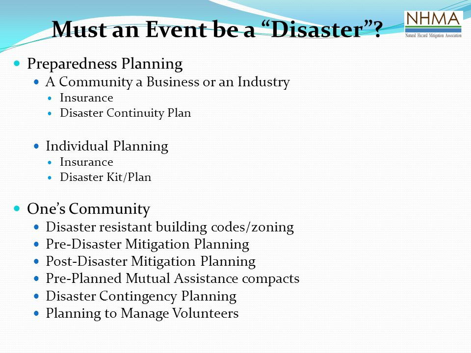 Must an Event be a Disaster