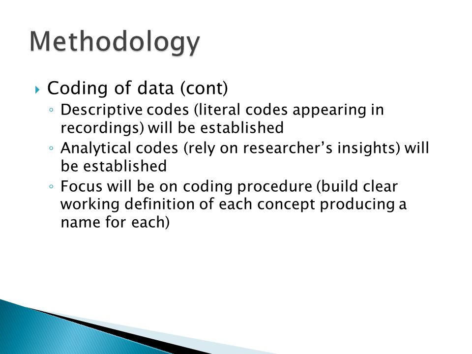 Methodology Coding of data (cont)